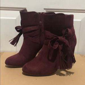 Burgundy Suede High Heeled Bootie Size 6